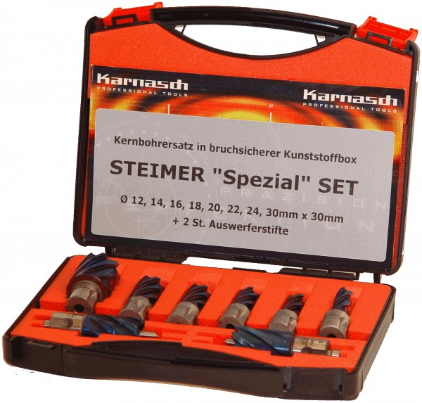 Kernbohrer HSS-XE Durablue STEIMER-Set, Schnitttiefe 30 mm, Weldon 19