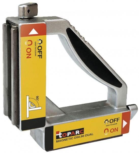 Magnet-Schweisswinkel D50.90 DUAL mit Ein-/Aus-Schalter, 148 x 148 x 38 mm, 50 kg